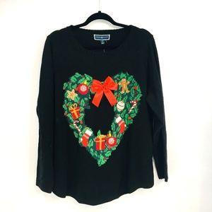 Karen Scott Black Wreath Ugly Christmas Sweater